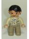 Minifig No: 47394pb116  Name: Duplo Figure Lego Ville, Female, Dark Tan Legs, Tan Top, Black Hair (Zoo Keeper)