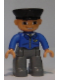 Minifig No: 47394pb117  Name: Duplo Figure Lego Ville, Male Post Office, Dark Bluish Gray Legs, Blue Jacket with Mail Horn, Black Police Hat, Smile with Teeth