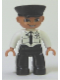 Minifig No: 47394pb120  Name: Duplo Figure Lego Ville, Male Pilot, Black Legs, White Top with Airplane Logo and Black Tie, Police Hat