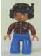 Minifig No: 47394pb121  Name: Duplo Figure Lego Ville, Male, Blue Legs, Brown Top with ID Badge, Black Cap with Headset