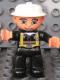 Minifig No: 47394pb122  Name: Duplo Figure Lego Ville, Male Fireman, Black Legs, Nougat Hands, White Helmet, Blue Eyes