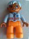 Minifig No: 47394pb125  Name: Duplo Figure Lego Ville, Male Medic, Orange Legs, Light Bluish Gray Top with Zipper, Stripes and EMT Star of Life Pattern, Light Bluish Gray Hair