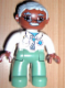 Minifig No: 47394pb126  Name: Duplo Figure Lego Ville, Male Medic, Sand Green Legs, White Top with Stethoscope, Light Bluish Gray Hair, Brown Head, Glasses, Moustache