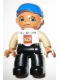 Minifig No: 47394pb136  Name: Duplo Figure Lego Ville, Male, Black Legs, White Top, Tan Arms, Blue Baseball Cap, LEGO Logo on Front - Lego Factory Hungary Promotional