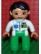 Minifig No: 47394pb137  Name: Duplo Figure Lego Ville, Female, Medic, Bright Green Legs, White Top with ID Badge and EMT Star of Life Pattern, Black Hair, Brown Eyes