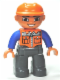 Minifig No: 47394pb156  Name: Duplo Figure Lego Ville, Male, Dark Bluish Gray Legs, Orange Vest with Zipper and Pockets, Orange Construction Helmet