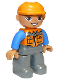 Minifig No: 47394pb156a  Name: Duplo Figure Lego Ville, Male, Dark Bluish Gray Legs, Orange Vest with Zipper and Pockets, Orange Construction Helmet, Oval Eyes