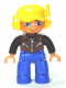 Minifig No: 47394pb157  Name: Duplo Figure Lego Ville, Male, Blue Legs, Brown Vest with Zipper and Zippered Pockets, Yellow Cap with Headset