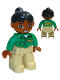 Minifig No: 47394pb158  Name: Duplo Figure Lego Ville, Female, Tan Legs, Green Top with 'ZOO' on Front and Back, Black Ponytail Hair, Brown Head (Zoo Worker)