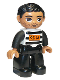 Minifig No: 47394pb168a  Name: Duplo Figure Lego Ville, Male, Black Legs, Black and White Striped Top with Number 92116, Black Hair (Prisoner), Oval Eyes
