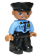 Minifig No: 47394pb169a  Name: Duplo Figure Lego Ville, Male Police, Black Legs, Medium Blue Top with Badge, Black Hat, Oval Eyes