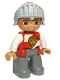 Minifig No: 47394pb179  Name: Duplo Figure Lego Ville, Male Castle, Dark Bluish Gray Legs, Red and White Chest with Lion on Shield, Helmet