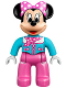 Minifig No: 47394pb202  Name: Duplo Figure Lego Ville, Minnie Mouse, Medium Azure Aviator Jacket with Polka Dot Scarf