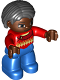 Minifig No: 47394pb207  Name: Duplo Figure Lego Ville, Female, Blue Legs, Red Argyle Sweater, Red Arms, Brown Head, Black Hair