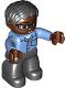 Minifig No: 47394pb208  Name: Duplo Figure Lego Ville, Male, Black Legs, Medium Blue Shirt with Pocket, Medium Blue Arms, Brown Head, Glasses, Black Hair