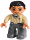 Minifig No: 47394pb210  Name: Duplo Figure Lego Ville, Male, Dark Bluish Gray Legs, Tan Sweater, Black Hair, Brown Eyes