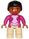 Minifig No: 47394pb214  Name: Duplo Figure Lego Ville, Female, Tan Legs, Magenta Jacket and Pink Blouse Pattern, Black Hair, Brown Eyes