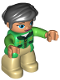 Minifig No: 47394pb222  Name: Duplo Figure Lego Ville, Female, Tan Legs, Green Jacket with Dark Green Collar, Bright Green Arms, Black Hair