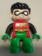 Minifig No: 47394pb225  Name: Duplo Figure Lego Ville, Robin, Green Legs