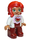 Minifig No: 47394pb226  Name: Duplo Figure Lego Ville, Female, Dark Red Legs, White Top with Pink Stripes and Watermelon Pattern, Green Eyes, Red Hair