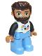 Minifig No: 47394pb233  Name: Duplo Figure Lego Ville, Male, Medium Blue Legs, White Top with Triangles, Black Arms, Reddish Brown Hair, Beard