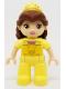 Minifig No: 47394pb239  Name: Duplo Figure Lego Ville, Disney Princess, Belle, Reddish Brown Hair, Bright Light Yellow Tiara