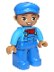 Minifig No: 47394pb252  Name: Duplo Figure Lego Ville, Male, Blue Legs, Dark Azure Shirt with Blue Overalls and Red Neckerchief Pattern, Blue Cap