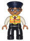 Minifig No: 47394pb254  Name: Duplo Figure Lego Ville, Male, Black Legs, White Shirt, Yellow Safety Vest with Train Logo, Dark Blue Hat, Brown Hair and Glasses