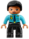 Minifig No: 47394pb262  Name: Duplo Figure Lego Ville, Female Police, Black Legs, Medium Azure Top with Badge and Epaulets, Black Hair