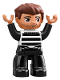 Minifig No: 47394pb264  Name: Duplo Figure Lego Ville, Male, Black Legs, Black and White Striped Top, Reddish Brown Hair (Prisoner)
