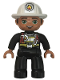 Minifig No: 47394pb265  Name: Duplo Figure Lego Ville, Male Fireman, Black Legs, Black Firejacket with Red Safety Harness, White Helmet with Silver Fire Badge, Green Eyes, Stubble