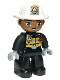 Minifig No: 47394pb272  Name: Duplo Figure Lego Ville, Male Firefighter, Black Legs, Black Jacket with Safety Harness, White Helmet with Silver Fire Badge and Radio, Brown Eyes