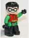 Minifig No: 47394pb285  Name: Duplo Figure Lego Ville, Robin, Black Legs