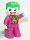 Minifig No: 47394pb286  Name: Duplo Figure Lego Ville, The Joker, Magenta Legs and Top, White Hands, White Head, Red Lips, Bright Green Hair
