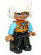 Minifig No: 47394pb288  Name: Duplo Figure Lego Ville, Male, Black Legs, Orange Vest with Badge and Pocket, Medium Azure Arms, White Cap with Headset