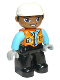 Minifig No: 47394pb289  Name: Duplo Figure Lego Ville, Male, Black Legs, Orange Vest with Badge and Pocket, Medium Azure Arms, Light Bluish Gray Hands, White Construction Helmet