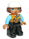 Minifig No: 47394pb291  Name: Duplo Figure Lego Ville, Female, Black Legs, Orange Vest with Belt and Telephone, Medium Azure Arms, Light Bluish Gray Hands, White Construction Helmet