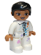 Minifig No: 47394pb292  Name: Duplo Figure Lego Ville, Female, White Suit with Zipper, Badge and Color Spots, Black Hair