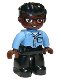 Minifig No: 47394pb295  Name: Duplo Figure Lego Ville, Male, Black Legs, Medium Blue Shirt with Pocket, Medium Blue Arms, Brown Head, Glasses, Black Hair Swept Forward, Round Eyes