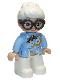 Minifig No: 47394pb303  Name: Duplo Figure Lego Ville, Female, White Legs, Bright Light Blue Top with White and Bright Light Orange Flowers, Dark Brown Glasses, White Hair