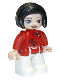 Minifig No: 47394pb304  Name: Duplo Figure Lego Ville, Female, White Legs, Red Top with Black Flowers, Black Hair