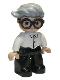 Minifig No: 47394pb305  Name: Duplo Figure Lego Ville, Male, Black Legs, White Top, Dark Brown Glasses, Light Bluish Gray Hair