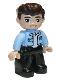 Minifig No: 47394pb306  Name: Duplo Figure Lego Ville, Male, Black Legs, Bright Light Blue Top with White Shirt, Dark Brown Hair