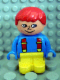 Minifig No: 4943pb003  Name: Duplo Figure, Child Type 1 Boy, Yellow Legs, Blue Top with Red Suspenders, Red Hair, Freckles