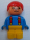 Minifig No: 4943pb003a  Name: Duplo Figure, Child Type 1 Boy, Yellow Legs, Blue Top with Red Suspenders, Red Hair, Freckles, no White in Eyes Pattern