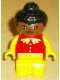 Minifig No: 4943pb008  Name: Duplo Figure, Child Type 1 Girl, Yellow Legs, Red Top with Lace Collar & Buttons, Yellow Arms, Black Hair, Brown Head