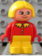 Minifig No: 4943pb011  Name: Duplo Figure, Child Type 1 Girl, Yellow Legs, Red Top with Collar And 3 Buttons, Yellow Hair, White in Eyes Pattern
