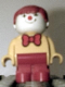 Minifig No: 4943pb013  Name: Duplo Figure, Child Type 1 Boy, Red Legs, Yellow Top With Red Bow Tie, Red Hair (Clown)