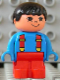 Minifig No: 4943pb017  Name: Duplo Figure, Child Type 1 Boy, Red Legs, Blue Top with Red Suspenders, Black Hair
