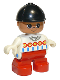 Minifig No: 6453pb014  Name: Duplo Figure, Child Type 2 Girl, Red Legs, White Top with Red, Yellow and Blue Designs, Black Riding Hat